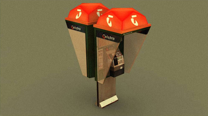 low-poly model of a telstra phone booth.
