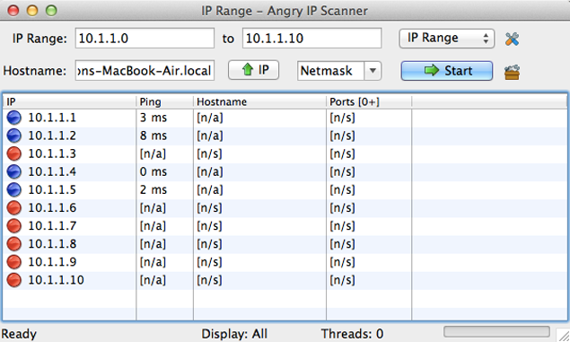 screenshot of Angry IP scanner