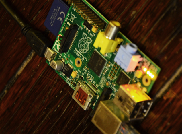 Picture of Raspberry Pi plugged into ethernet