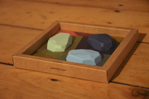 Picture of estimote ibeacons in original packaging.
