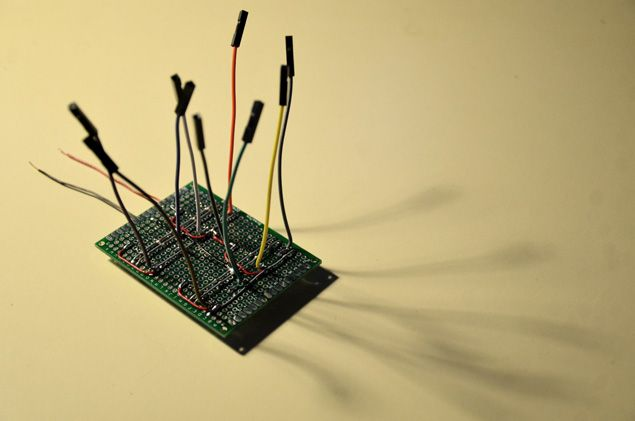 Photo of custom electronics board, featuring motor driver IC chips