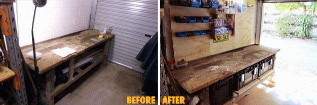 Before and after shots of my workbench improvements.