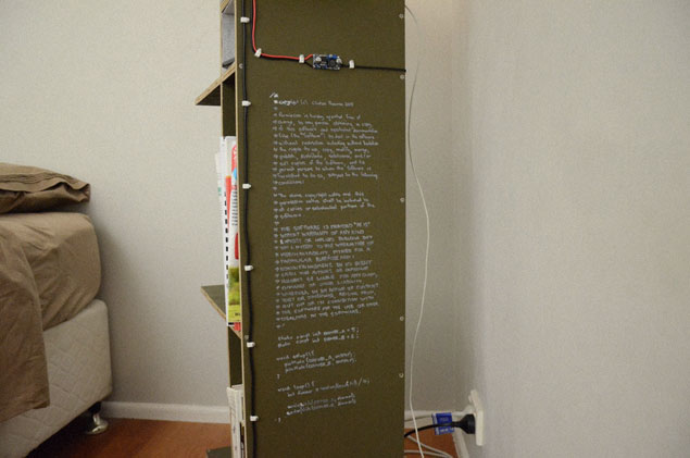 Arduino code and MIT license published on side of cabinet.