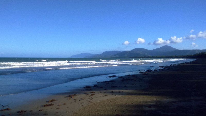 Photo south, down along four mile beach at Port Douglas.