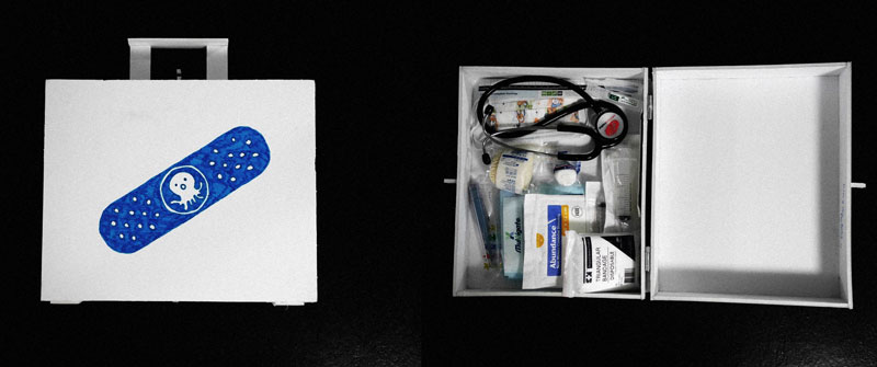 Photo of a homemade medical bag inspired by Peso from Octonauts. Features real medical supplies