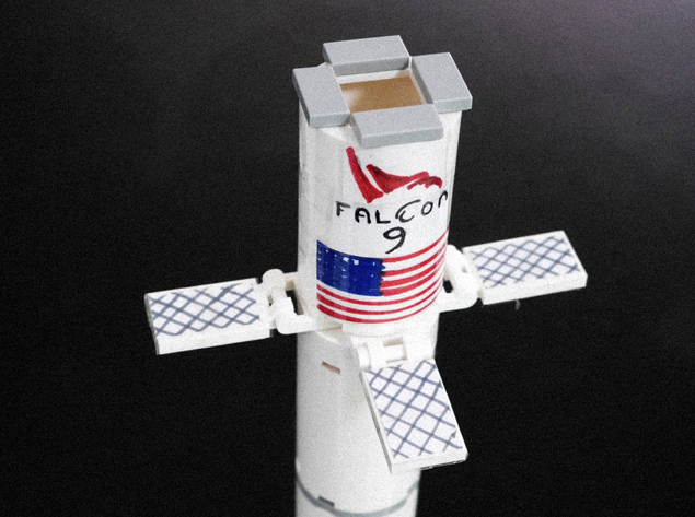 Close up of lego falcon 9 hypersonic grid fins.