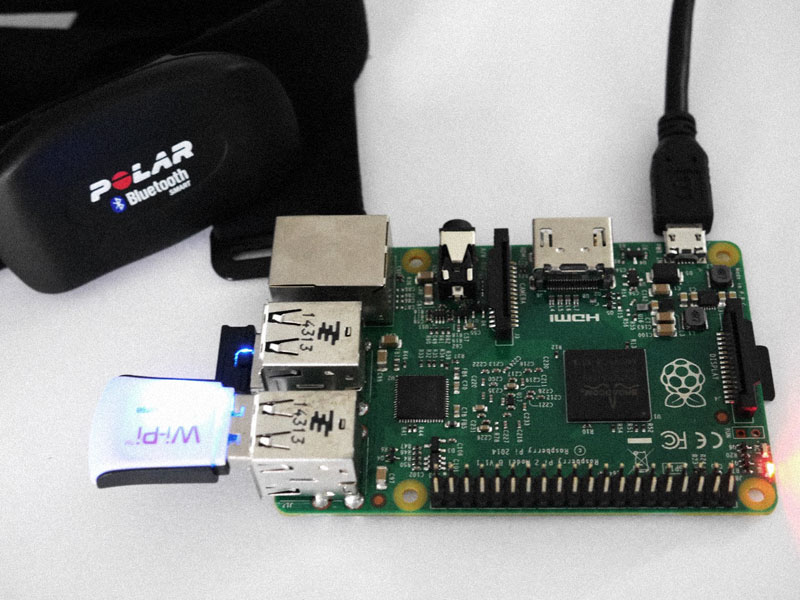 A photo of a Raspberry Pi 2 with Polar H7 heart rate monitor.