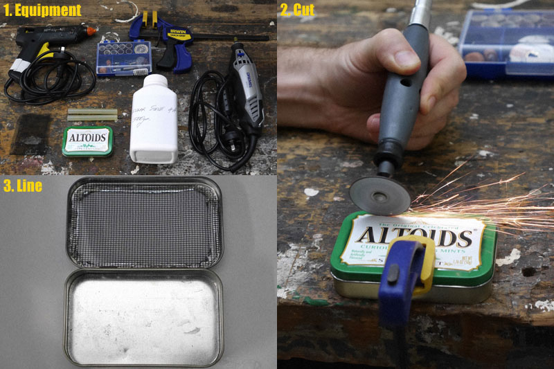 Photo of supplies and steps to build a DIY Altoids desiccant canister.