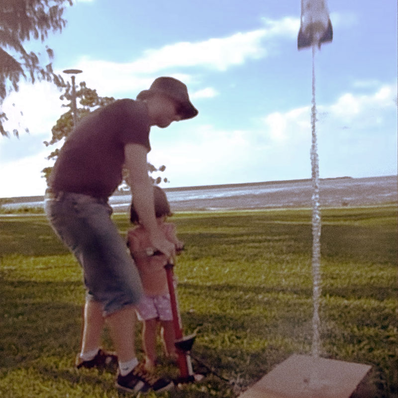 Photo of my daughter and I launching a SpaceX inspired bottle rocket.