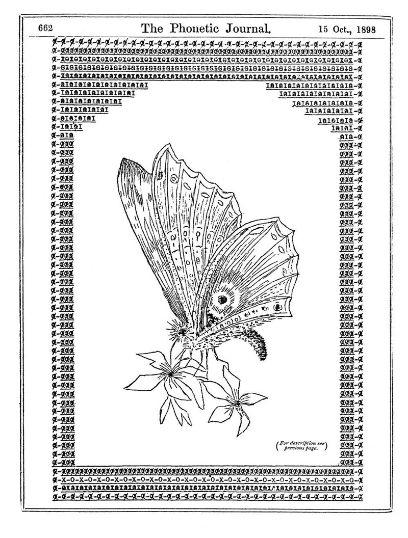 Typewriter art from 1898. Butterfly by Flora Stacey