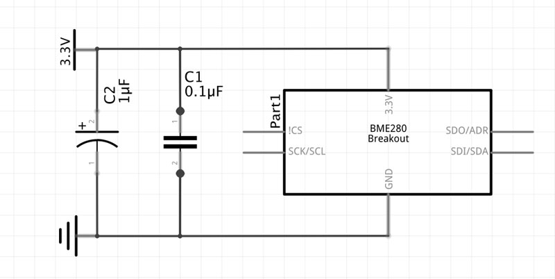 Circuit diagram of multiple bypass capacitors in parallel