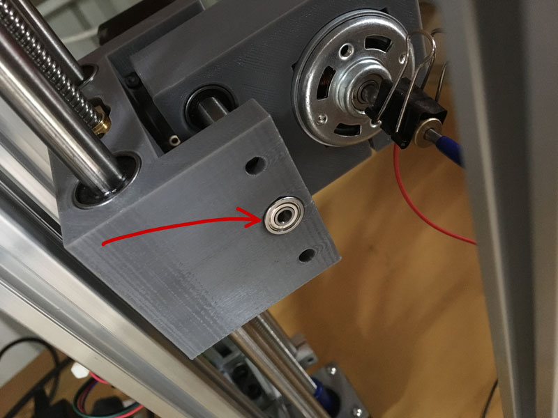 Where to install a 604 bearing on a 2418 CNC mill to stop z-axis crashes.
