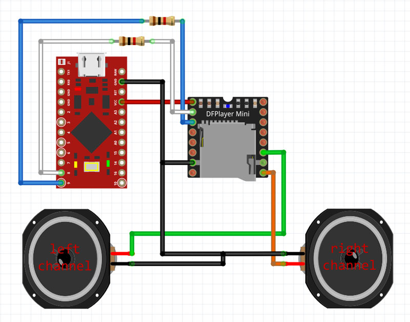Diagram of how to wire a DFPlayer Mini to an Arduino Pro Micro with noise suppression resistors.