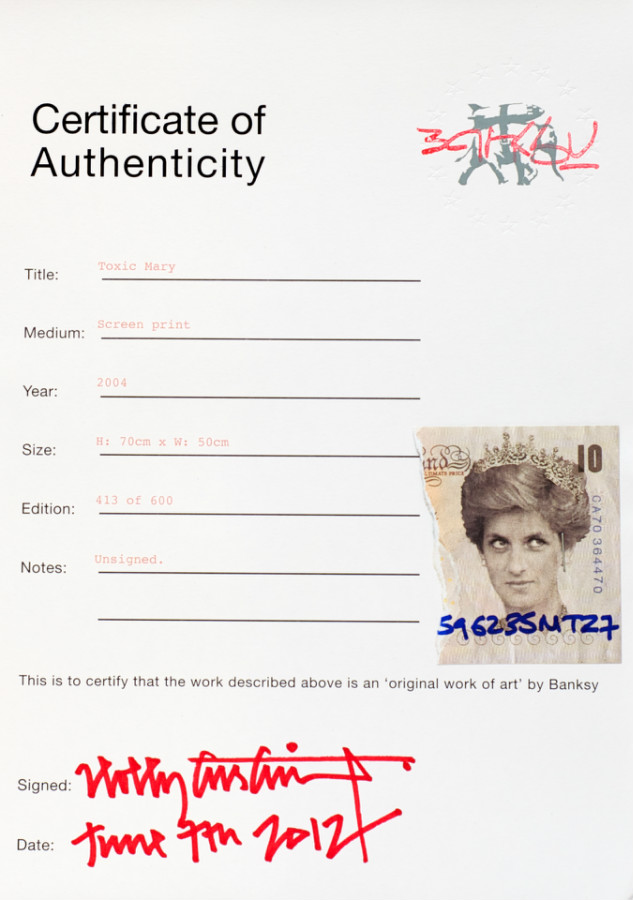 Picture of a Banksy authentiation certificate from the not-for-profit company Pest Control.