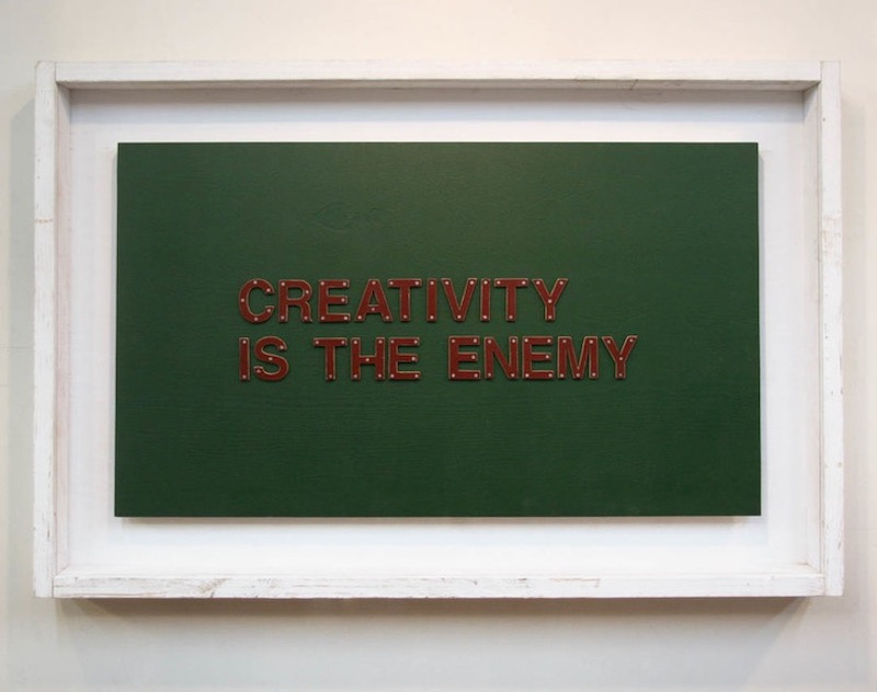 Picture of creativity is the enemy. A mixed media work from Tom Sachs.
