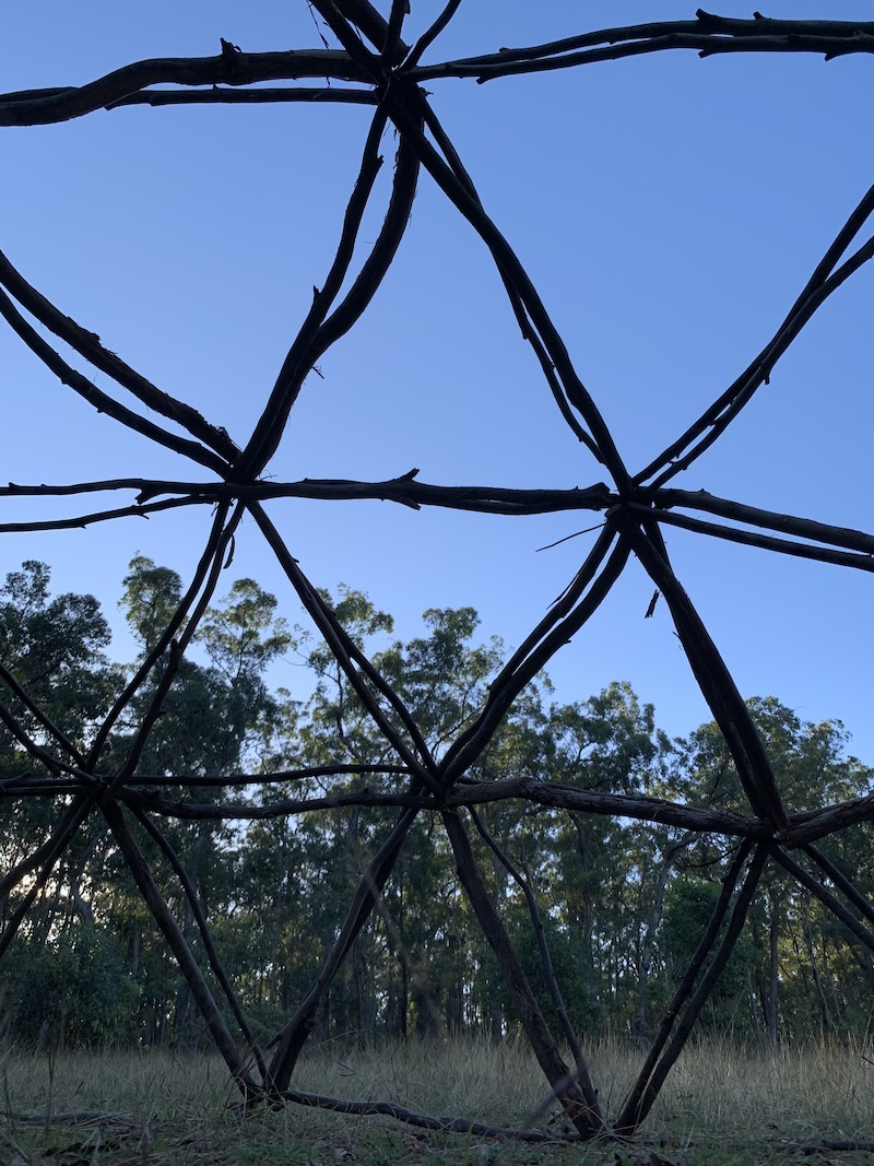 A photo of the inside of a 3v geodesic dome constructed out of sticks at sunset.